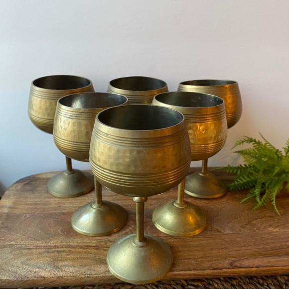 6 Vintage Brass Goblets Cups Wedding Retro